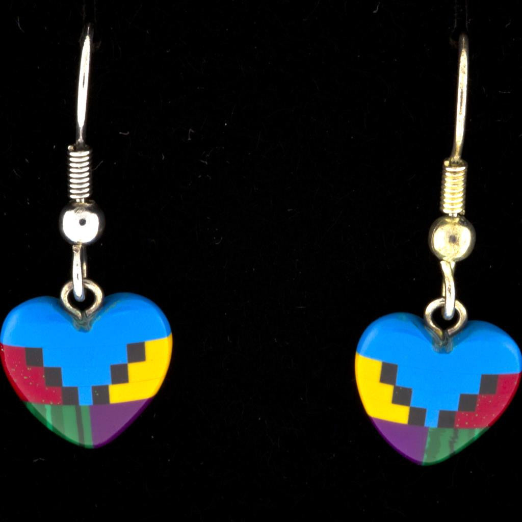 TURQUOISE DANGLING HEART EARRINGS