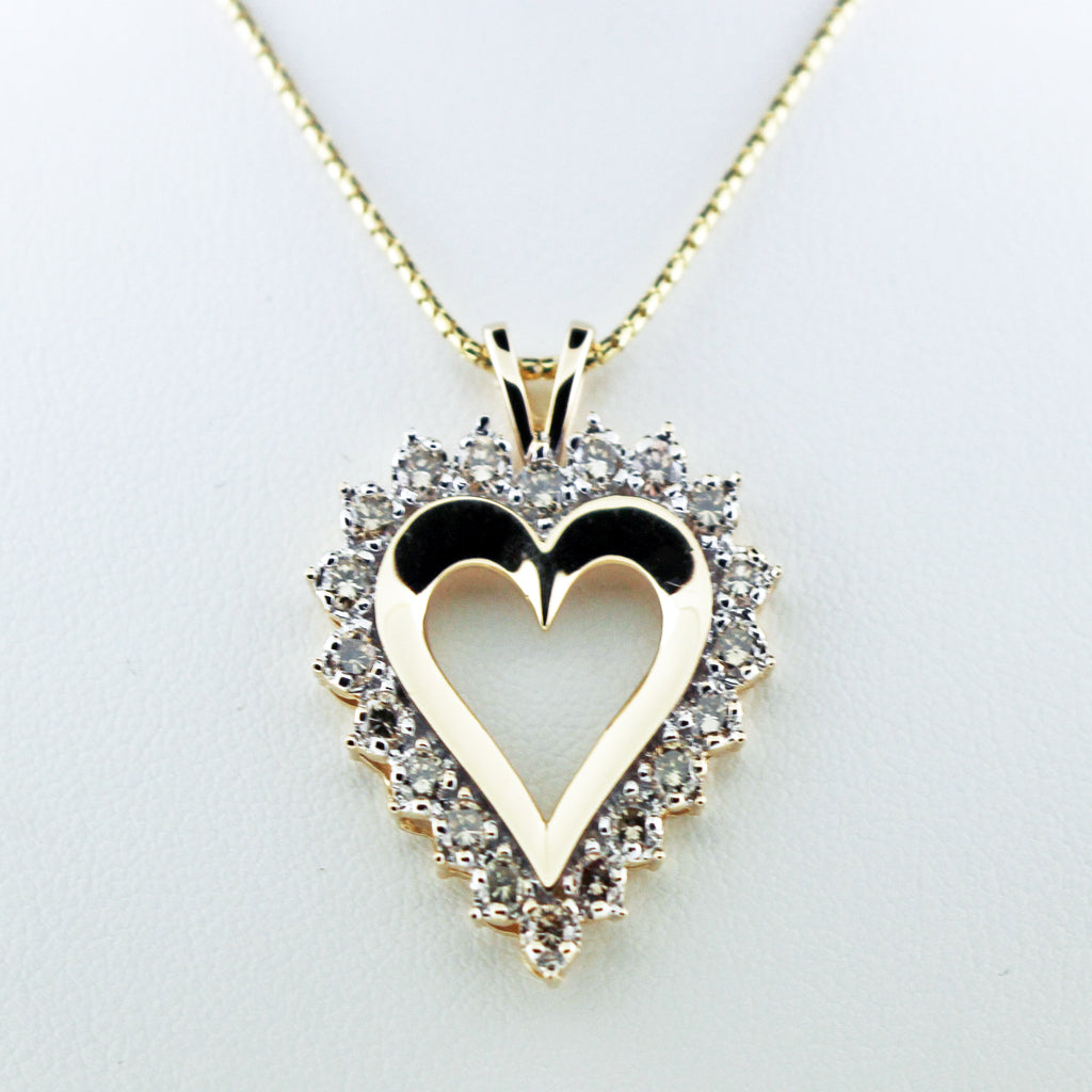 DECO LARGE DIAMOND 14K YG HEART PENDANT