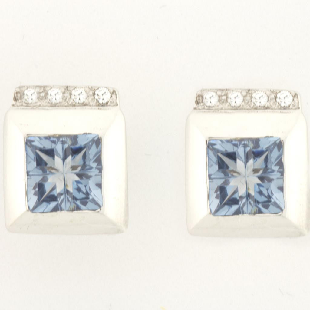 PRINCESS CUT BLUE TOPAZ EARRINGS