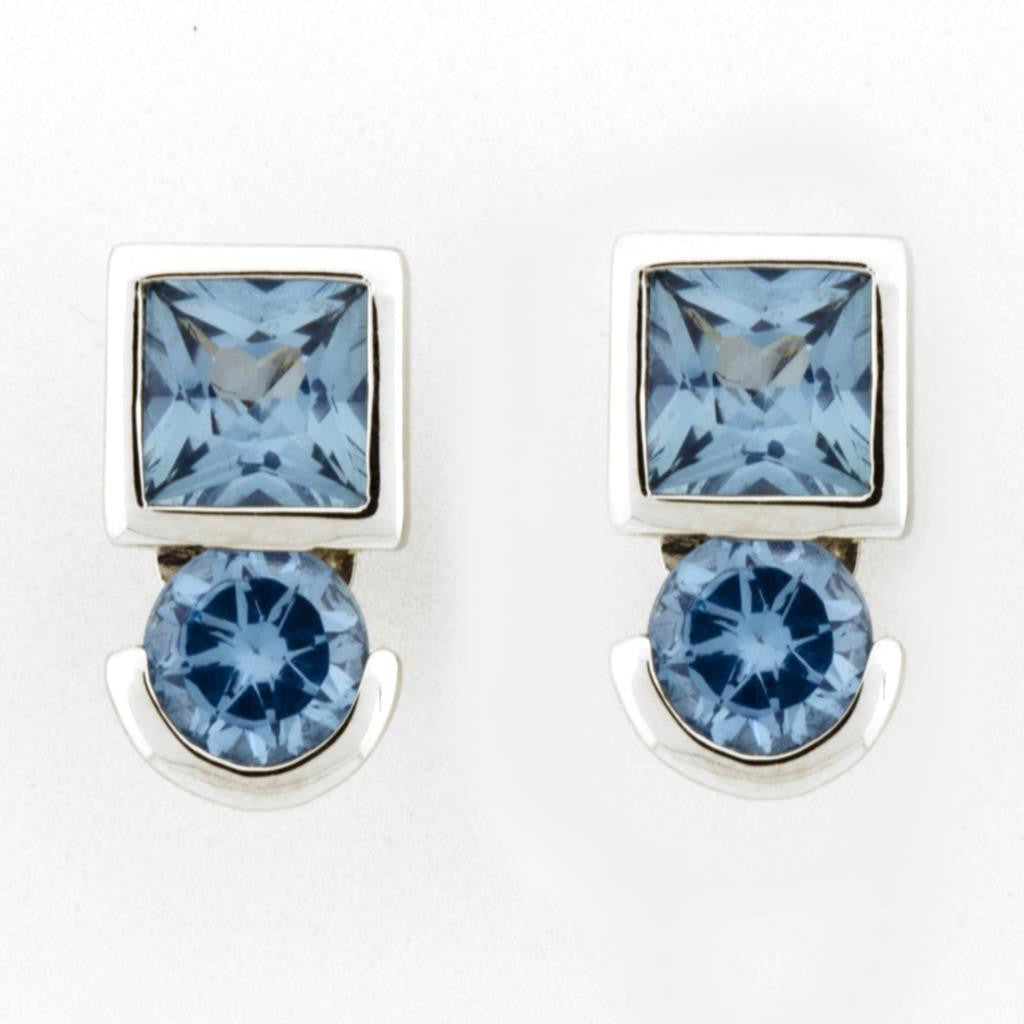 ROUND/SQUARE BLUE TOPAZ EARRINGS