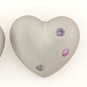 MATTE FINISHED DOME HEART EARRINGS