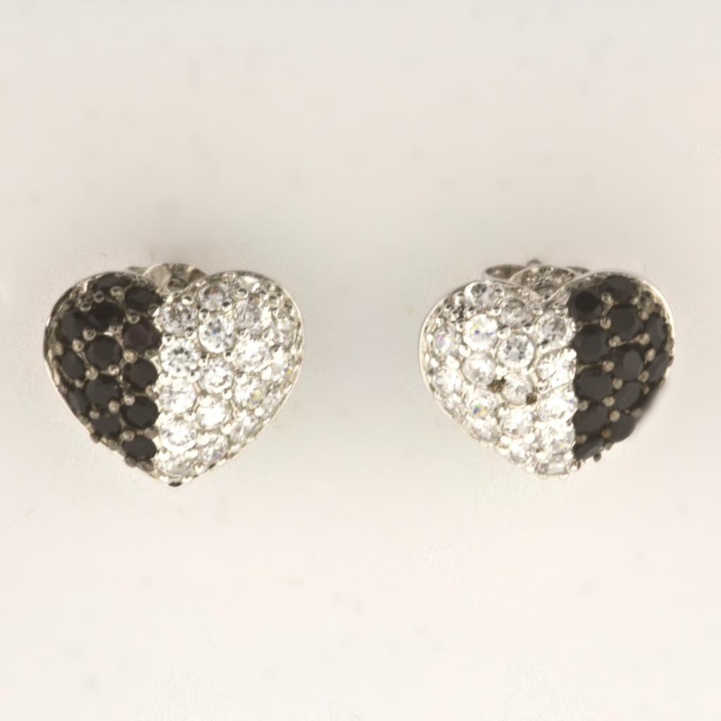 BLACK & WHITE HEART STUD EARRINGS
