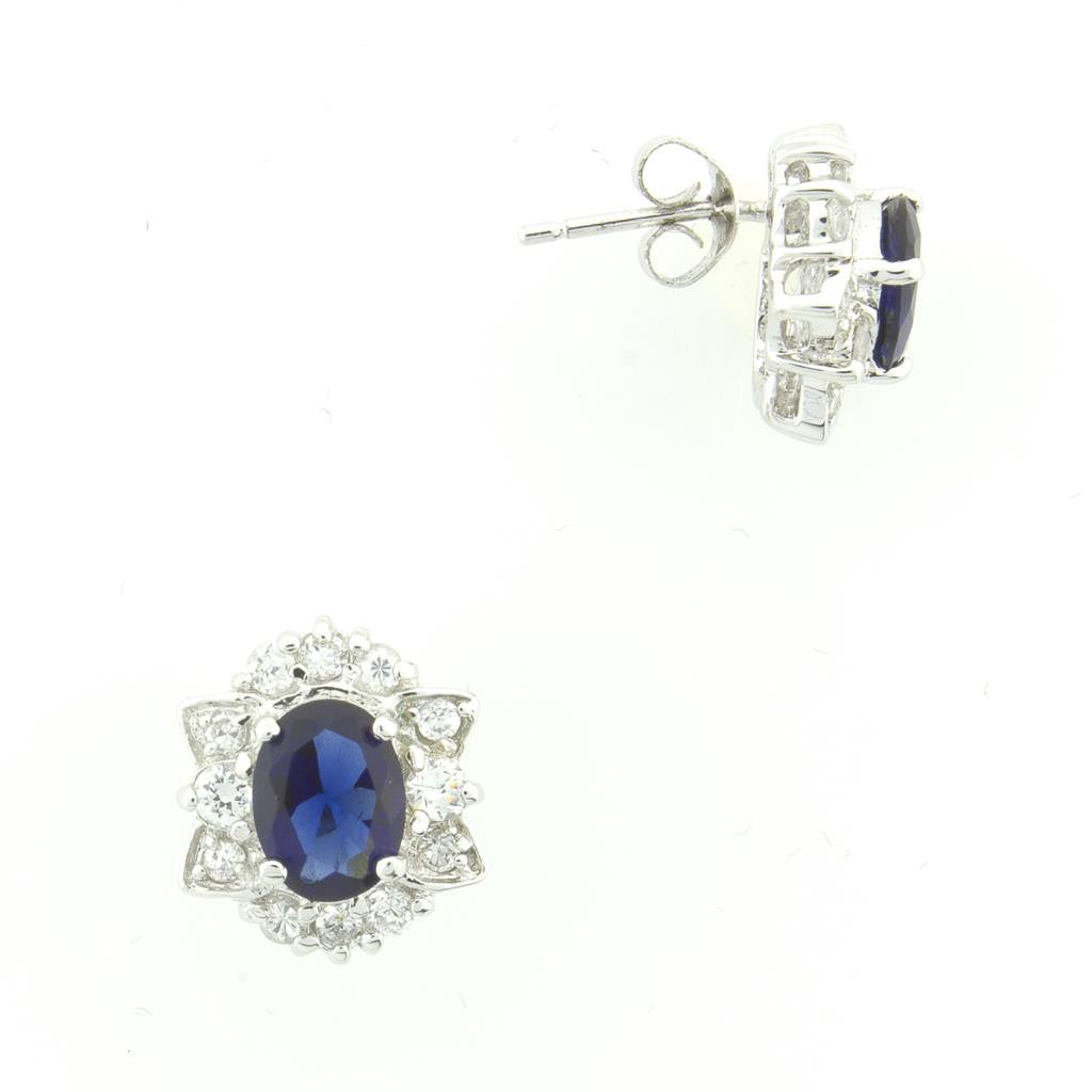BLUE SAPPHIRE HALO EARRINGS (MATCHING RING)