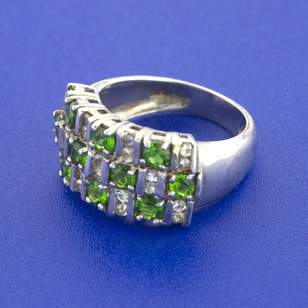 FANCY CLUSTER GREEN PERIDOT RING