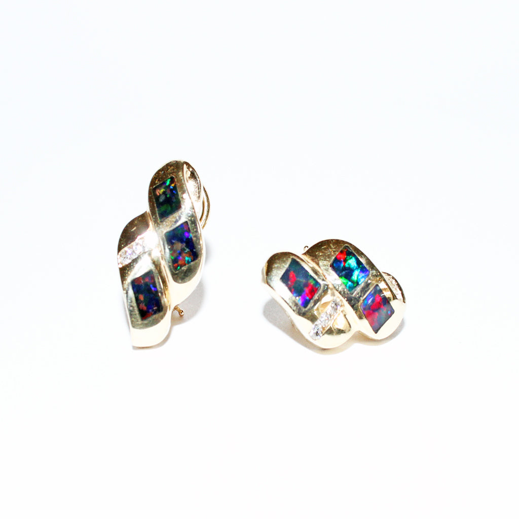 DECO BLACK OPAL 14K YG EARRINGS