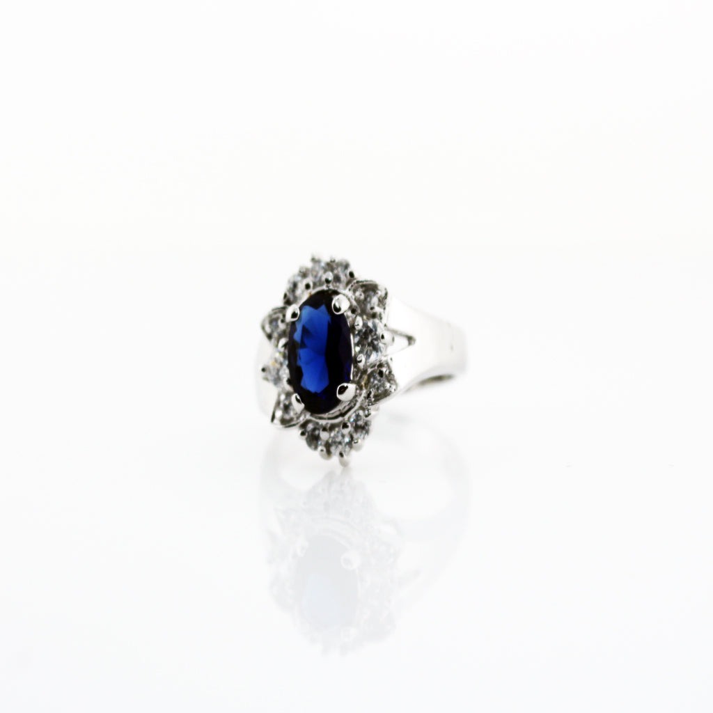 BLUE SAPPHIRE HALO RING (MATCHING EARRINGS)