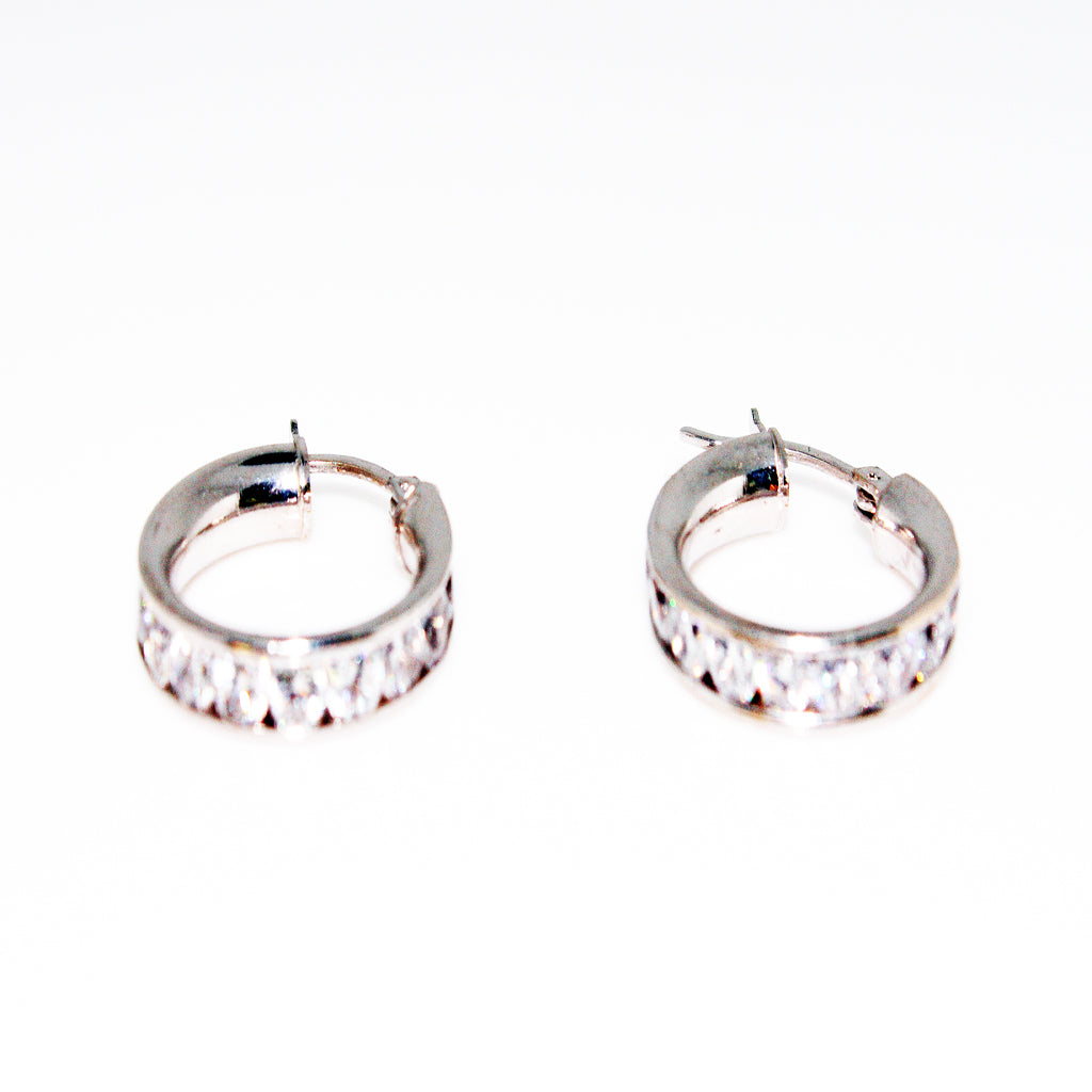 14K WG HOOPS EARRINGS