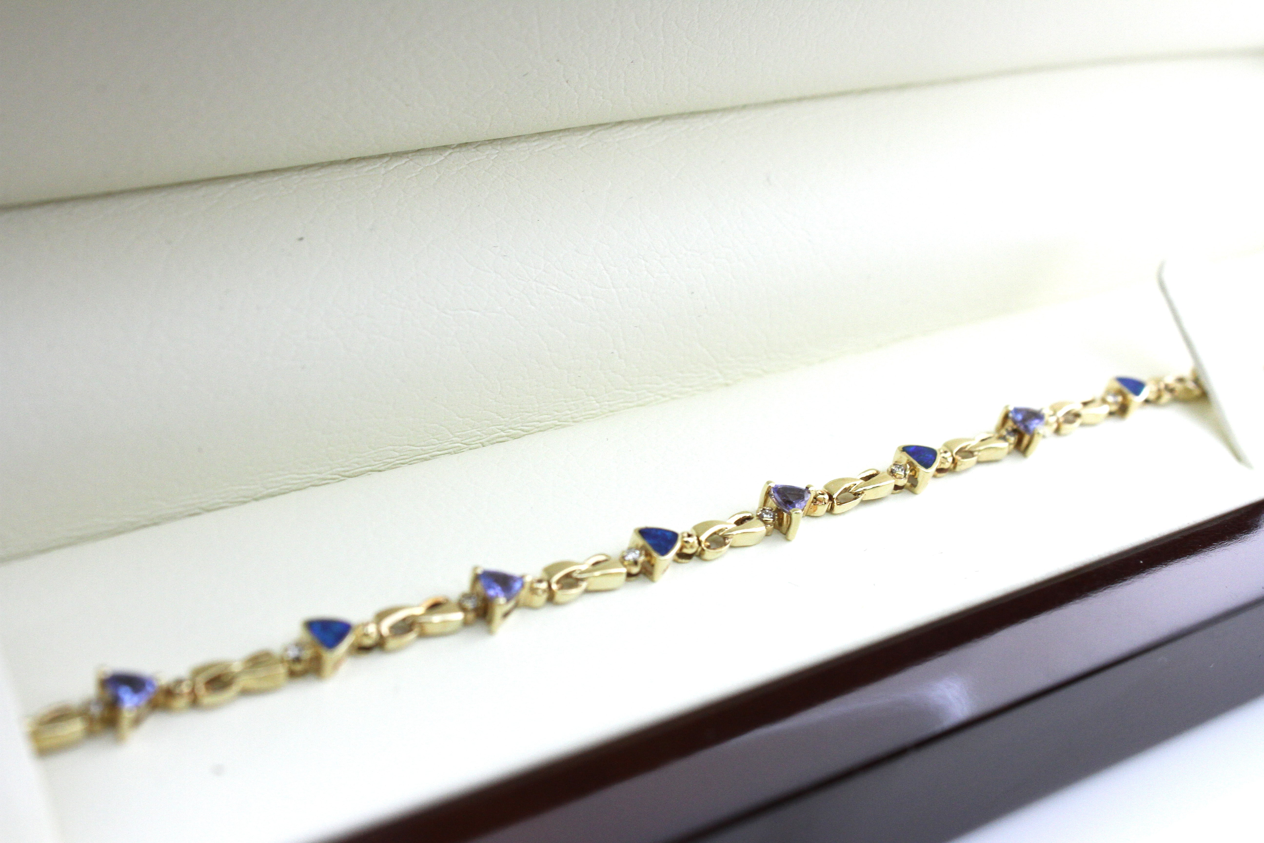 OPAL TANZANITE TRIANGLE BRACELET