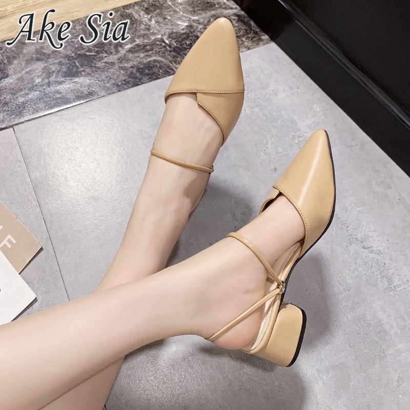 Pointed Toe Block Strap Closed Shallow High Heels