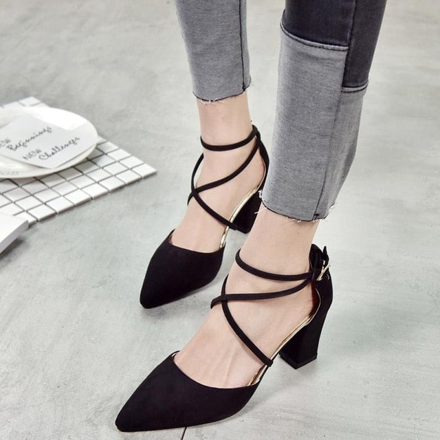 Gladiator Sandals Sexy Pointed Toe Pumps