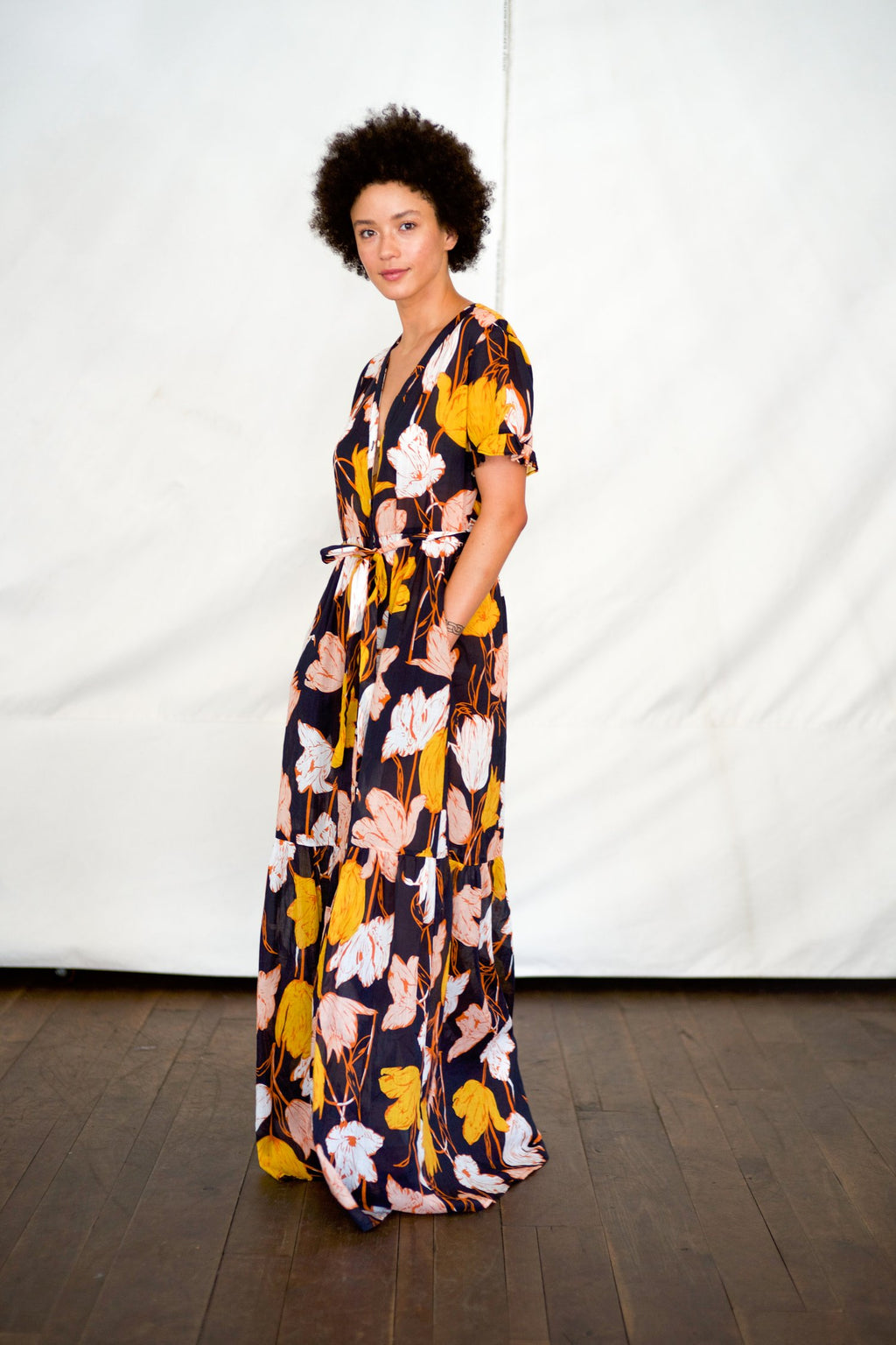 Trovata Birds of Paradise Cara Maxi Dress Tulip Print