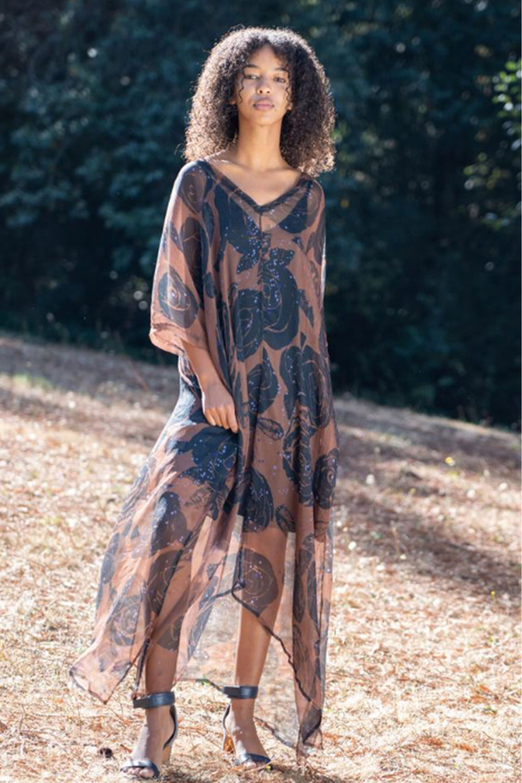 Nene Kaftan Dress Black Rose Chiffon 100% Silk
