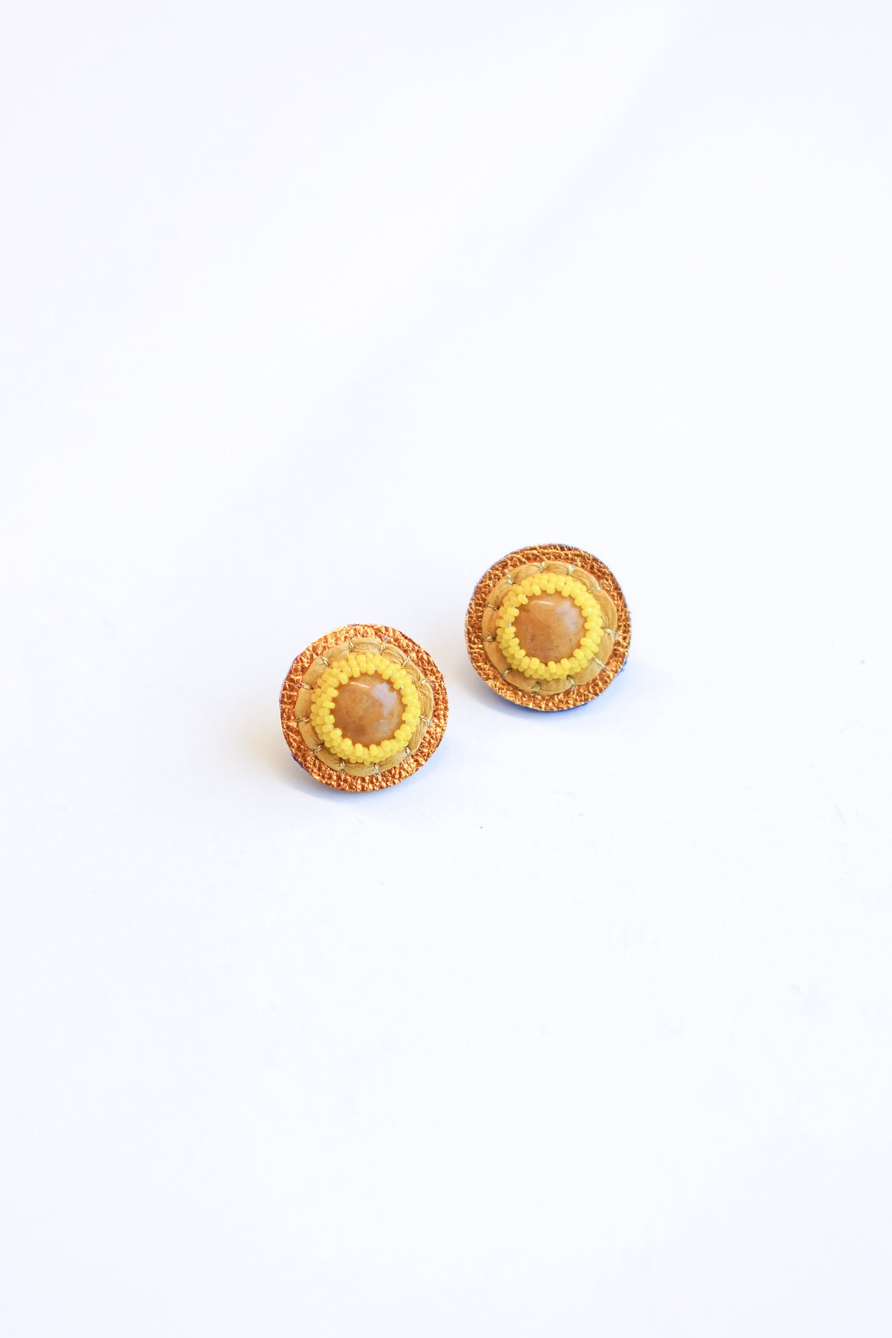 Robin Mollicone Circle Yellow Jasper Beaded Earrings with Leather