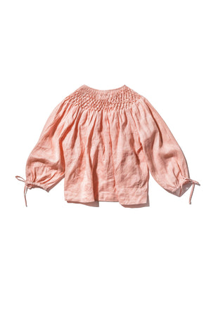 Innika Choo Honeycomb Smock Neck Top in Peach