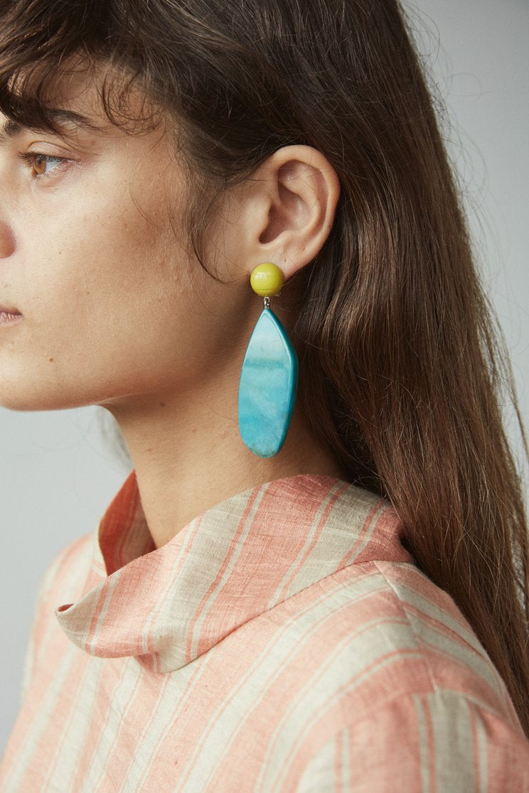 Rachel Comey Splitleap in Yellow-Green Earrings
