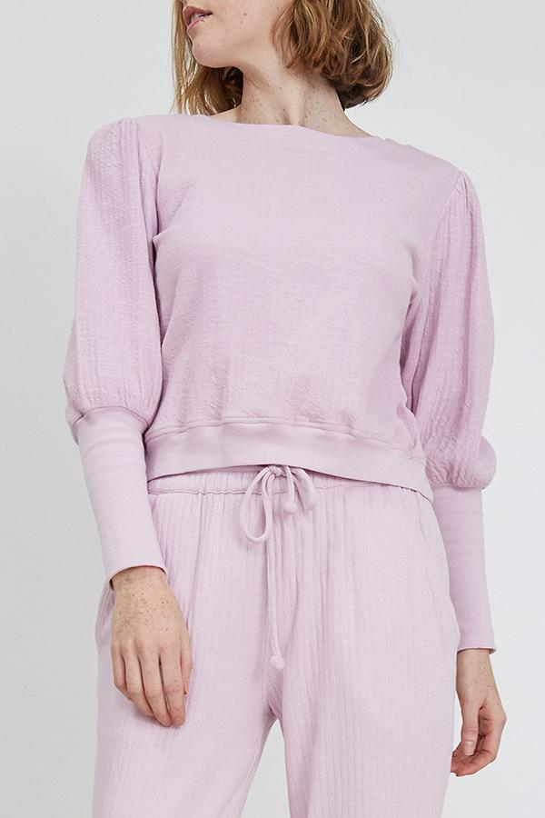Apiece Apart Olimpio Puff Sleeve Sweatshirt in Lilac
