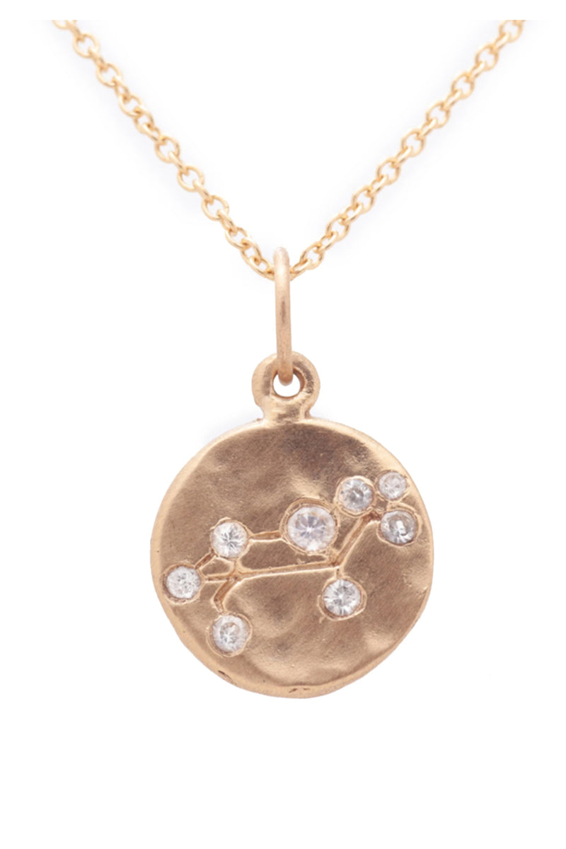 Valley Rose Leo Constellation Necklace in White Sapphire