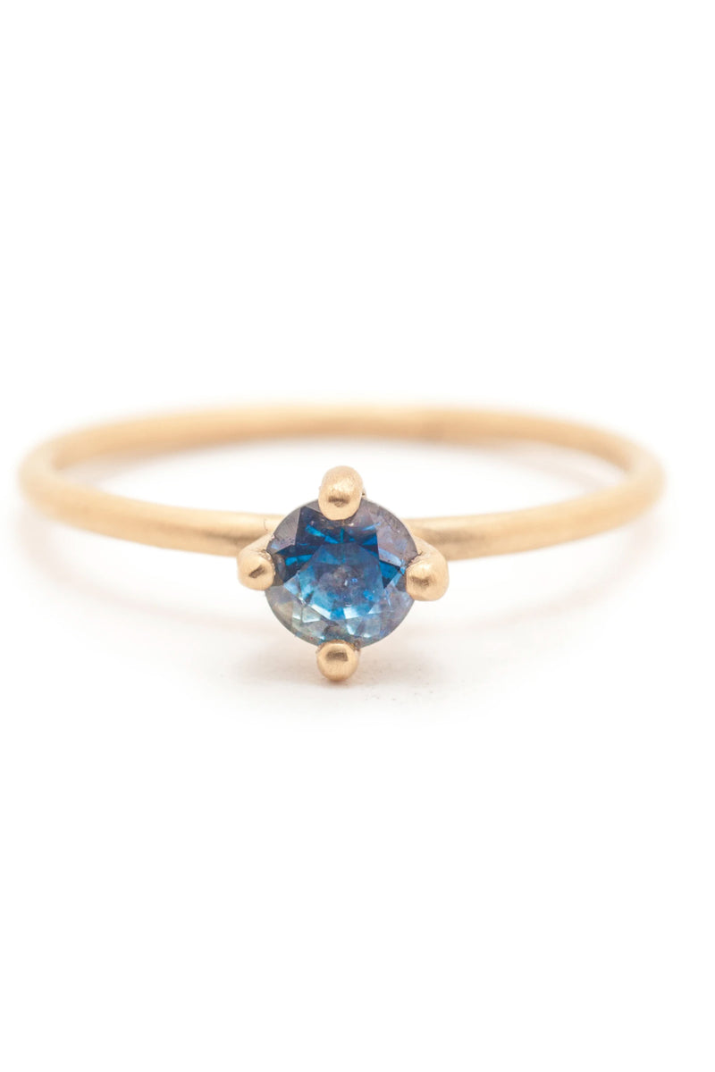 Valley Rose Atlantis Solitaire #4 in Teal Sapphire Ring