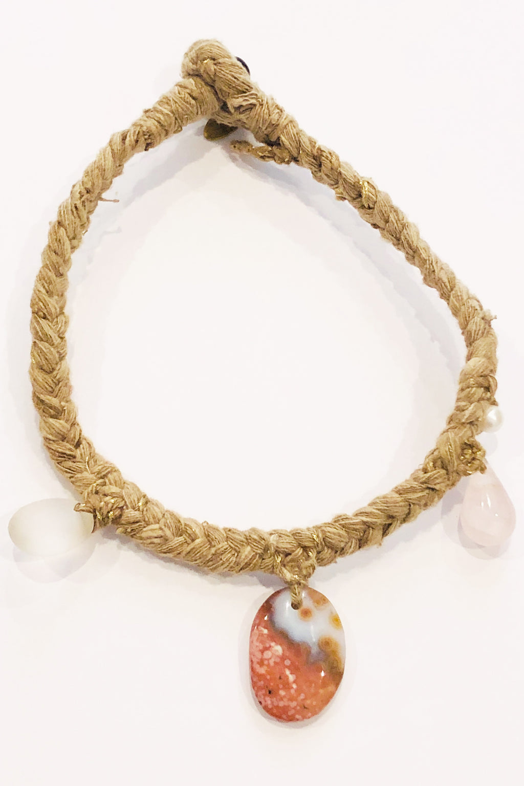 Forte Forte Braided Silk and Natural Jasper Stone Necklace