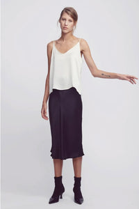 Silk Laundry Bias Cut Skirt in Black