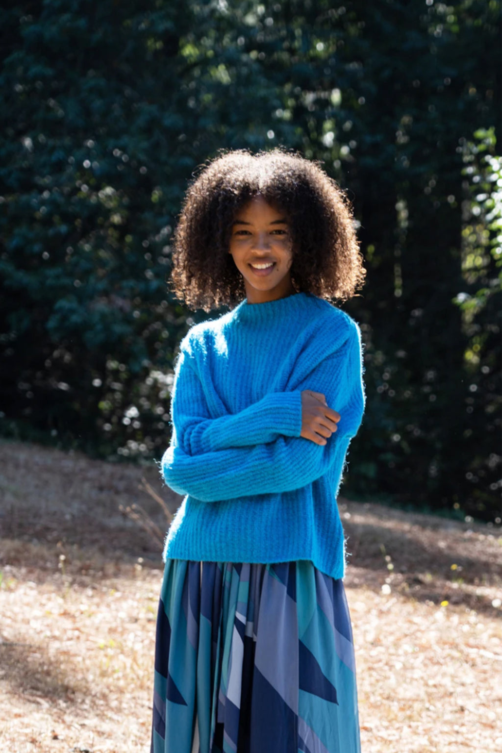 Paloma Wool Monfort Turtle Neck Crop Sweater in Cyan