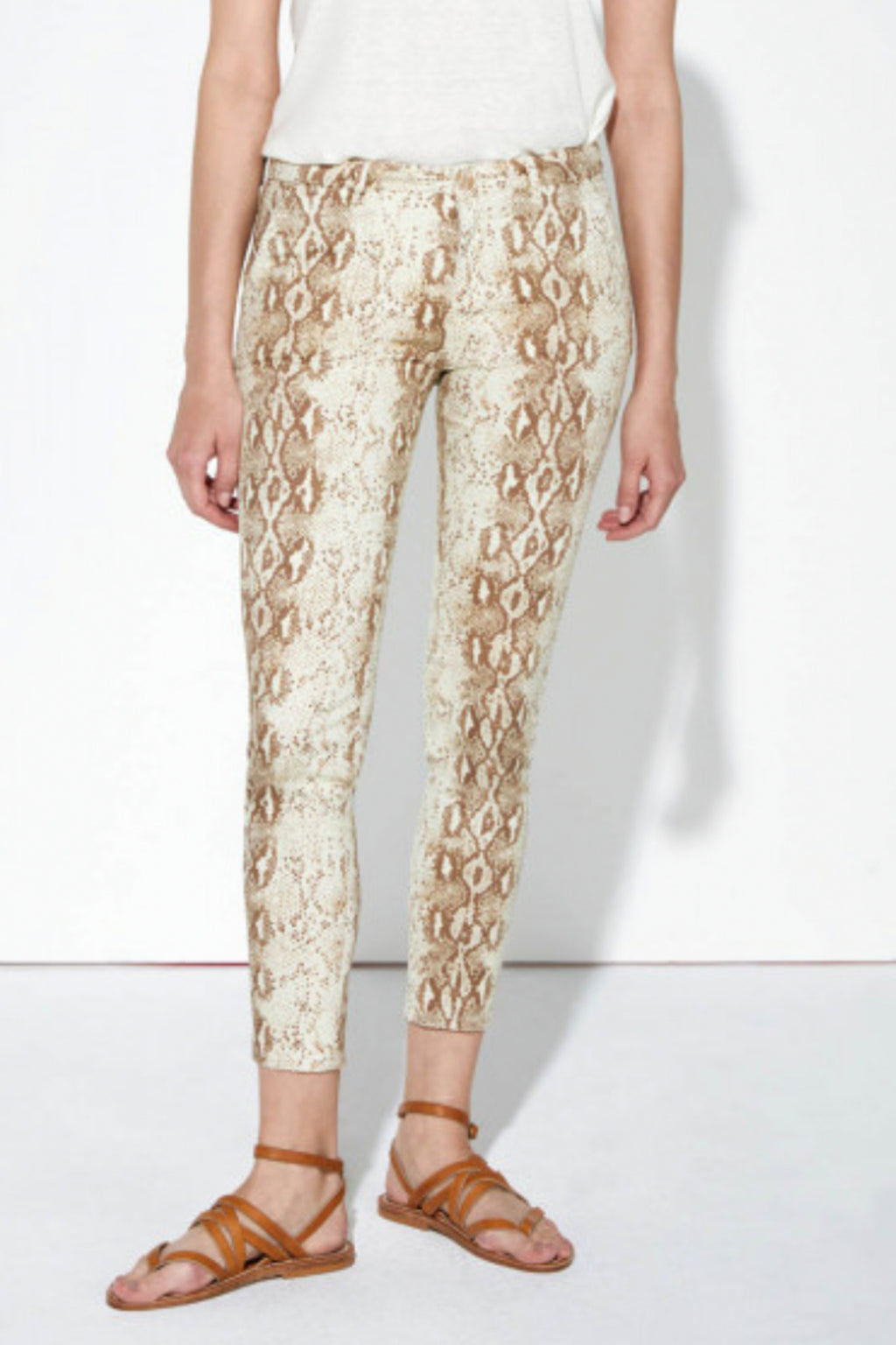 Reiko Sandy Cropped Printed Chinos in Camel Snake