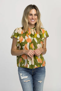 Trovata Carla Highneck Shirt in Green Floral