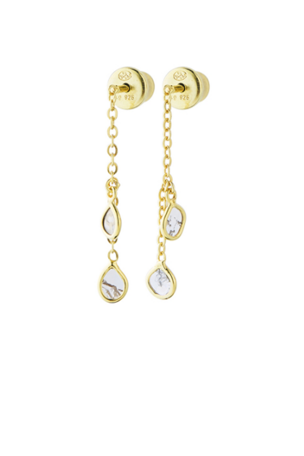 Marie Laure Chamorel Gold & Crystal Tear Drop Earrings