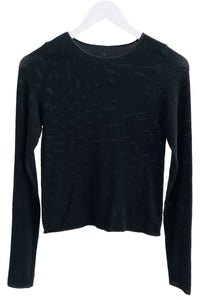 Baserange Odea Longsleeve Cotton Mesh Top in Black