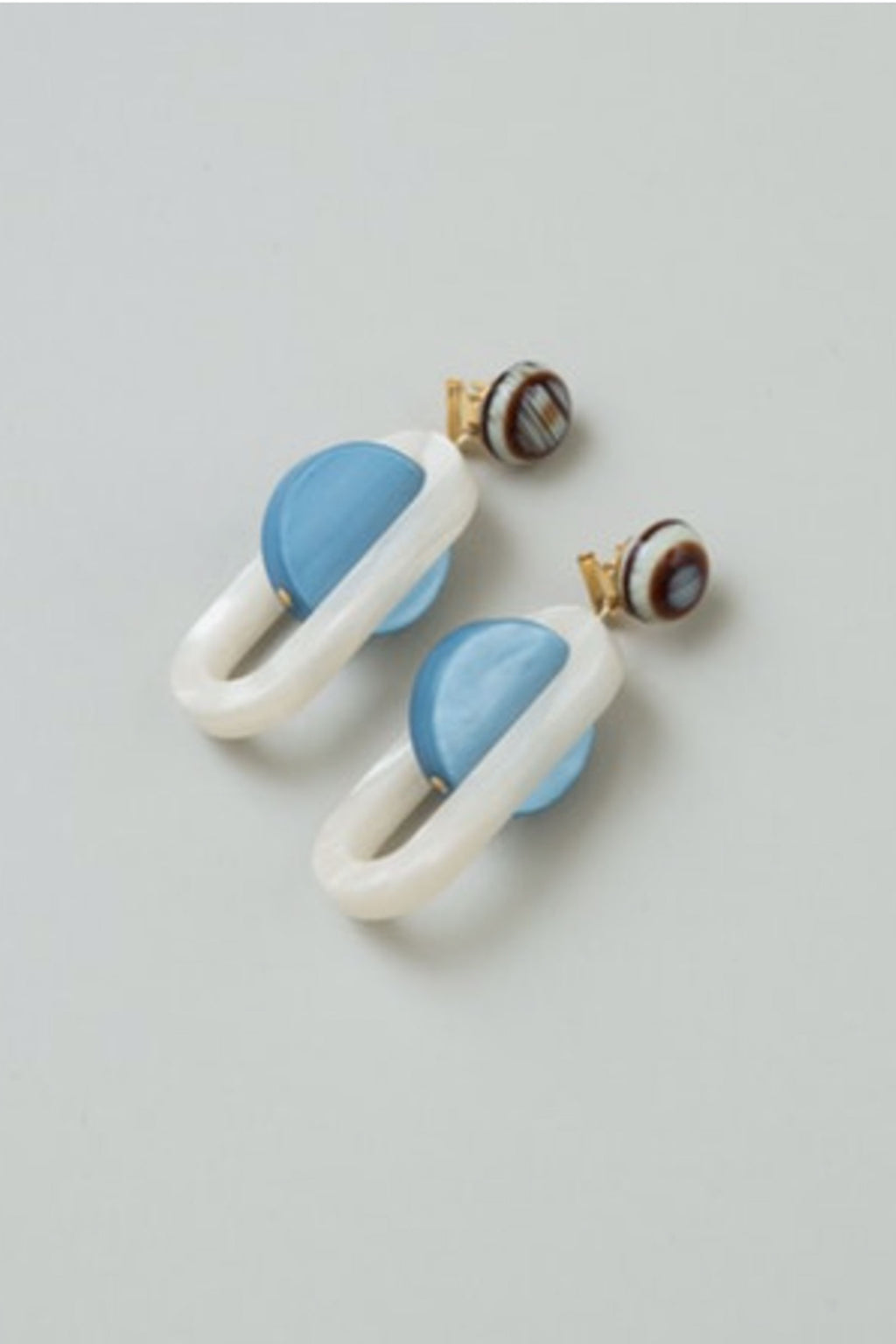 Rachel Comey Lohr Dangle Earrings in Blue Marble-Pearl