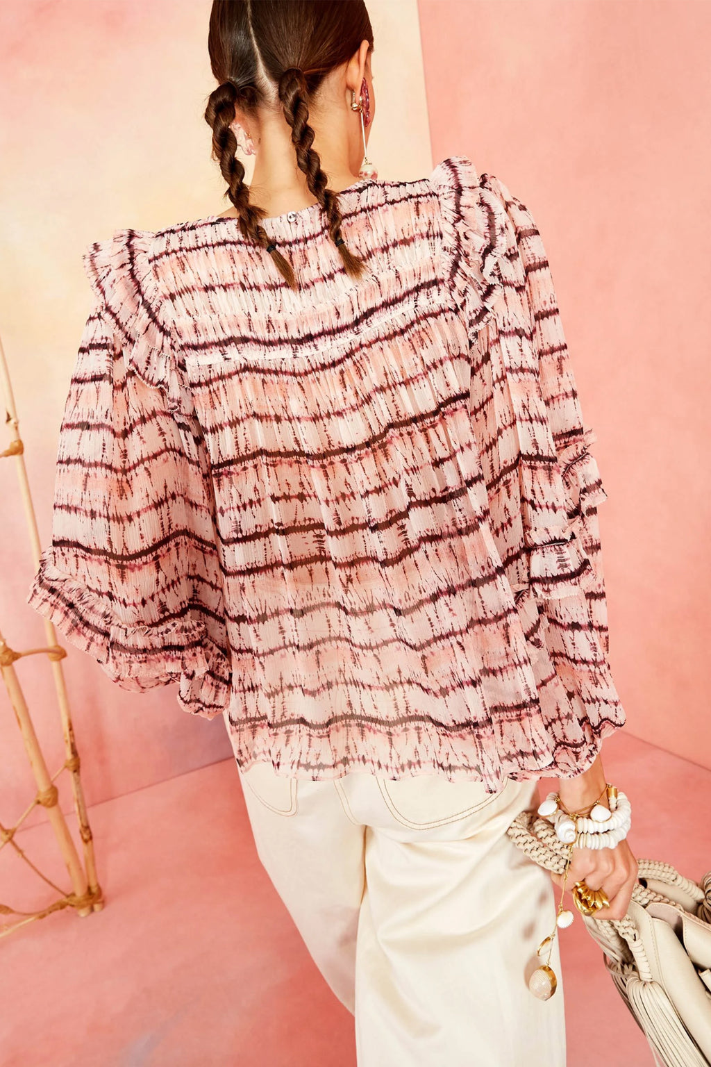 Ulla Johnson Isolde Blouse in Blush Tie Dye