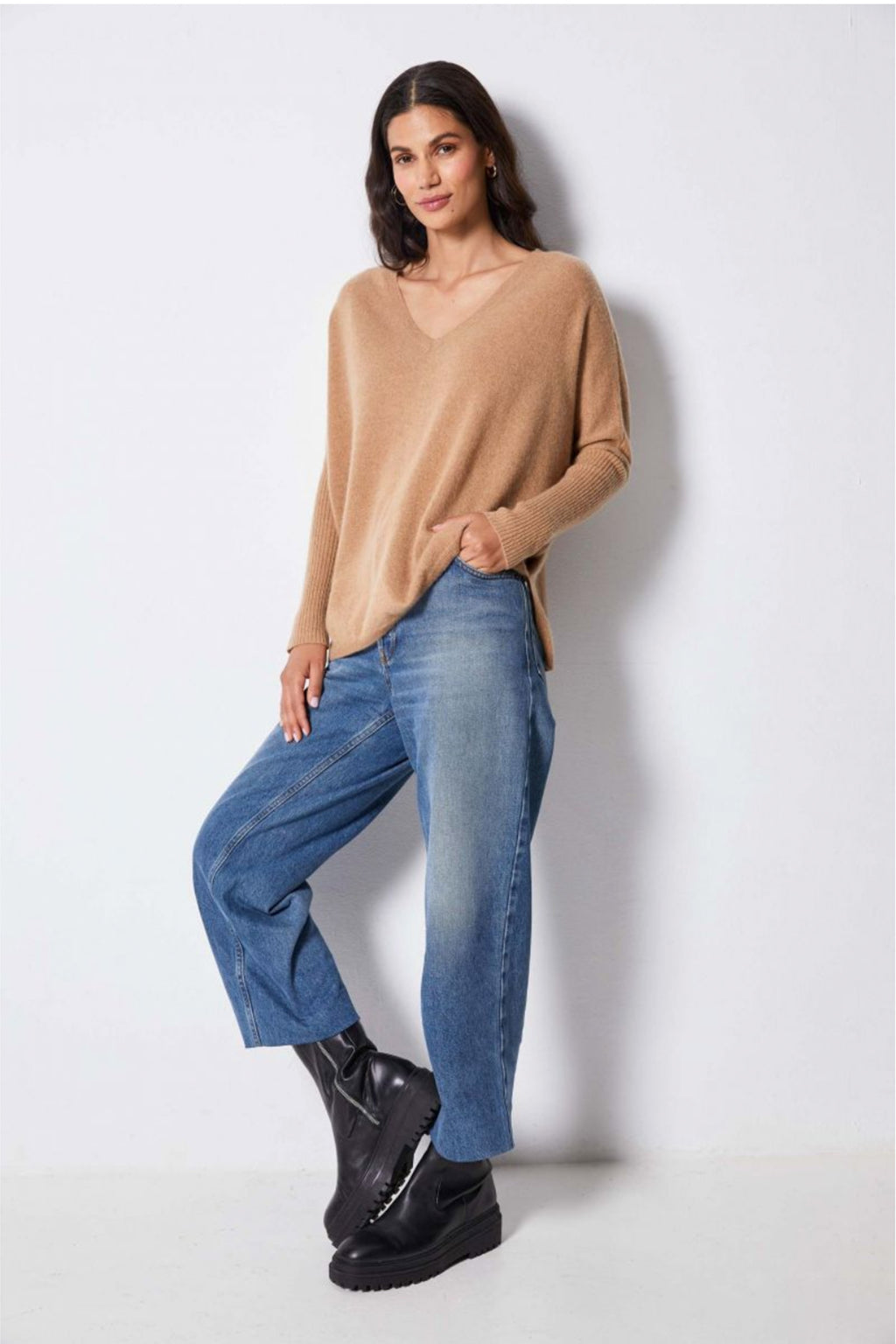 Not Shy Faustine Cashmere V-Neck Poncho Sweater in Camel