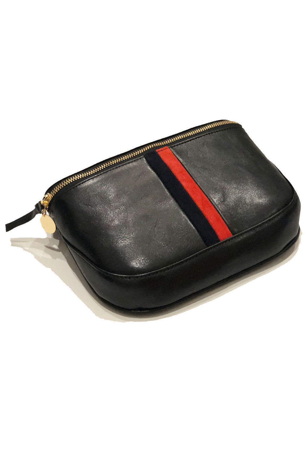 Clare Vivier Black Leather Red and Navy Stripe Fanny Pack