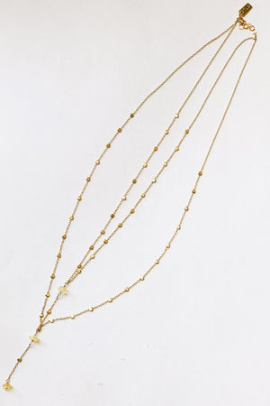 ILD 14K Gold Opal Double Layer Storm Necklace