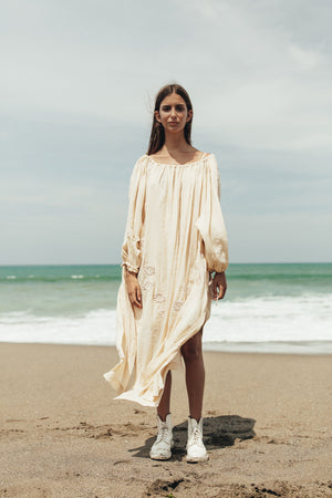 Innika Choo Frida Wailes Smock Maxi Dress in Nude