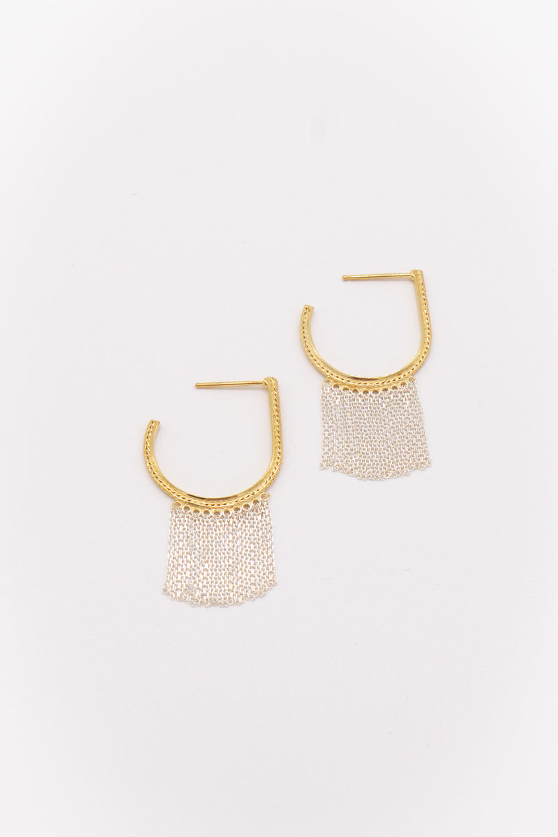 Marie Laure Chamorel Sterling Silver Earrings in Bicolor Gold