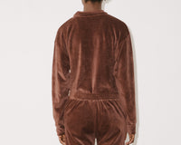 Baserange Suru Longsleeve Velour Top in Turnip Brown