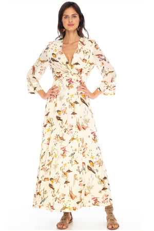 Caballero Ravi Dress In Mustard Protea Flowers