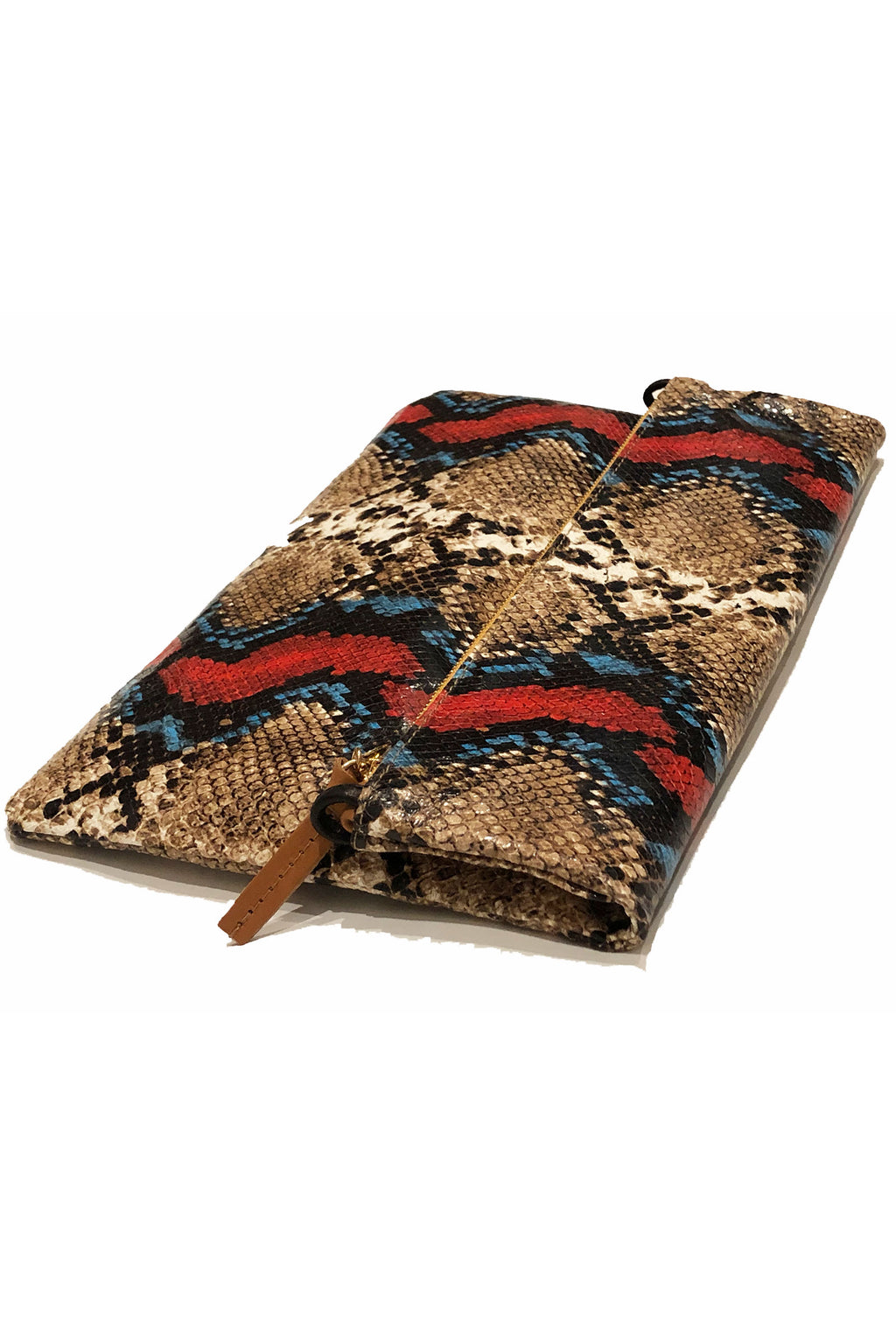 Clare Vivier Foldover Clutch with Tabs in Garden Snake