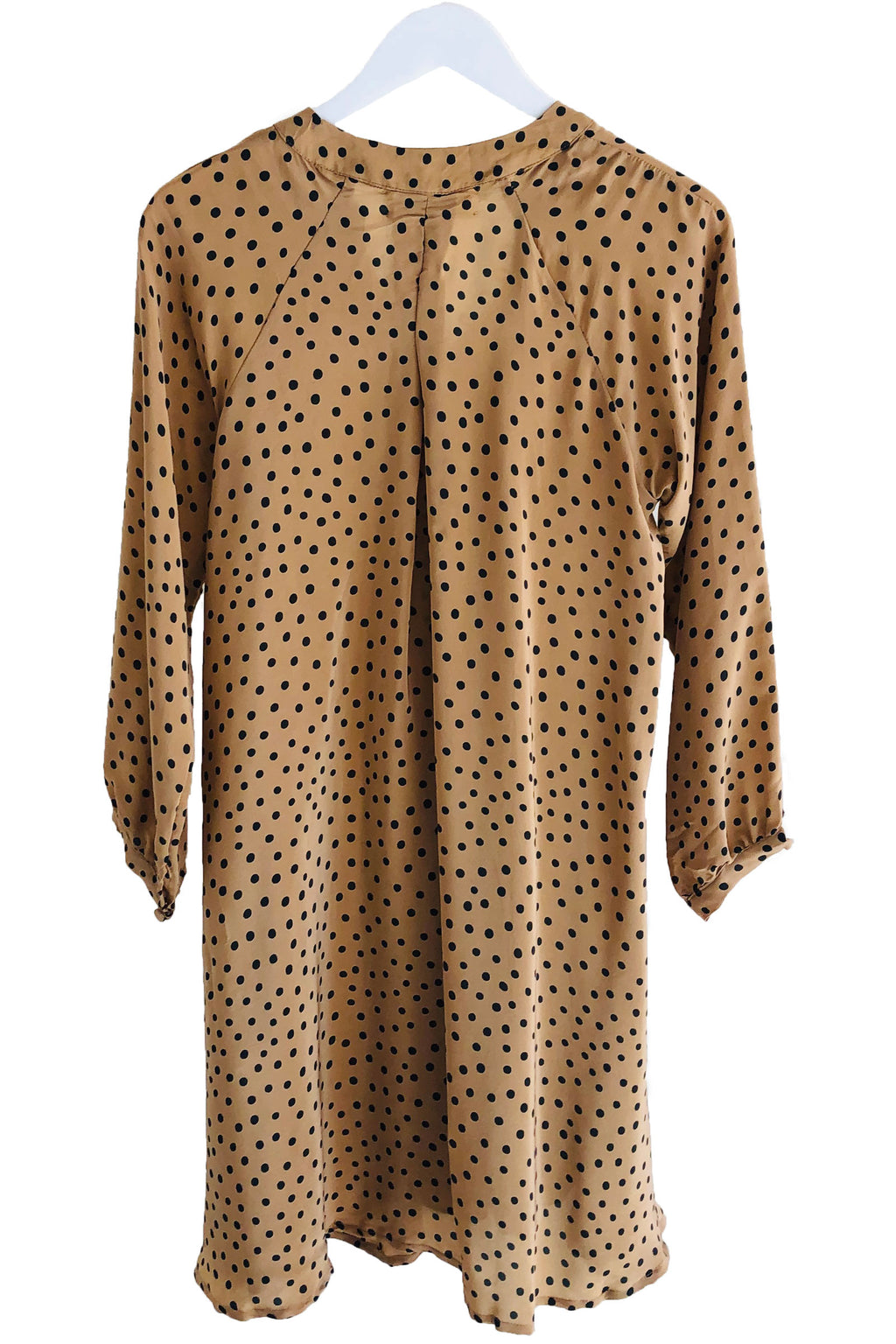 Natalie Martin Fiore Short Dress in Polka Dot Tan