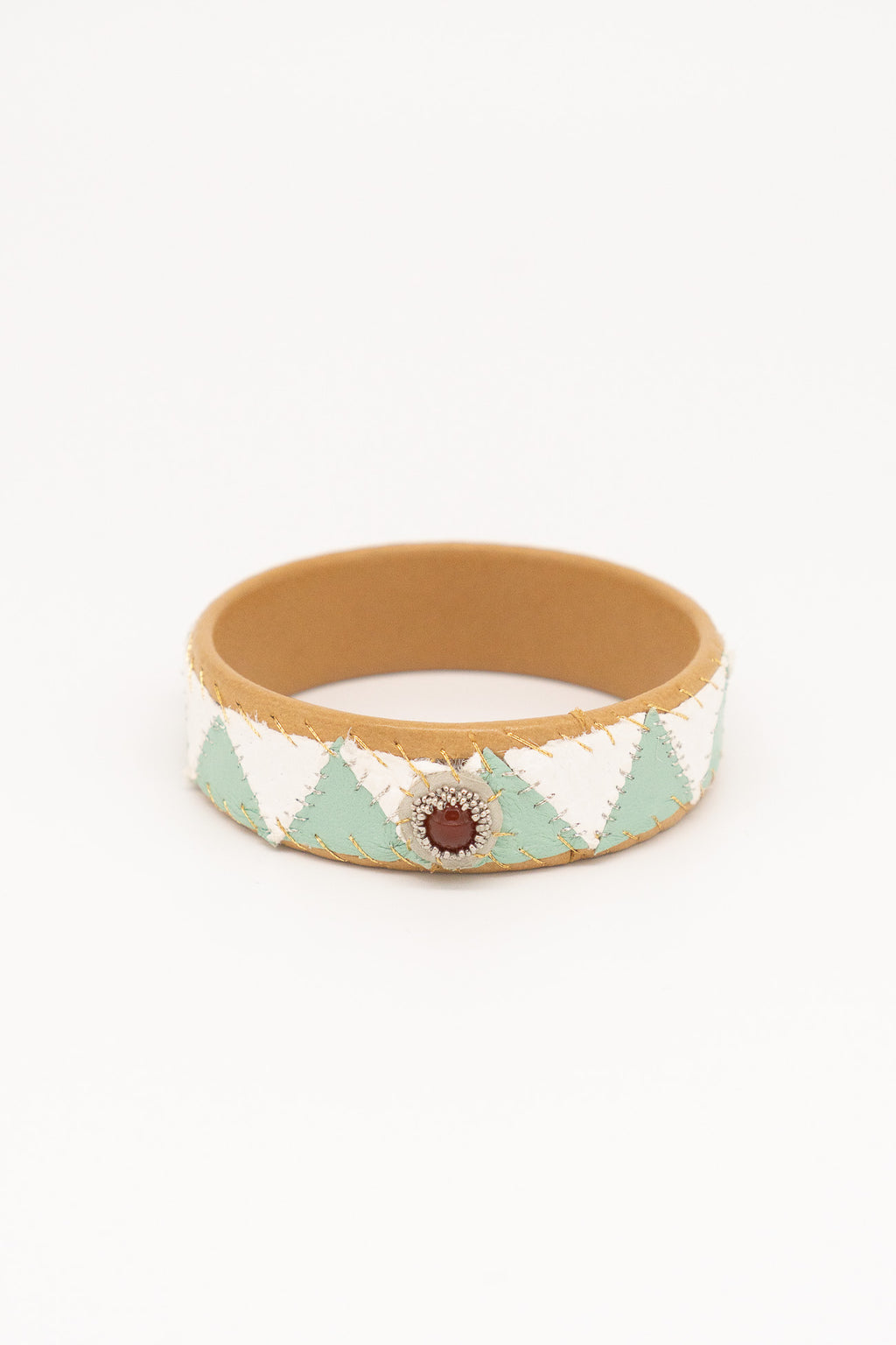 Robin Mollicon Triangle Handbeaded Patchwork Leather Cuff
