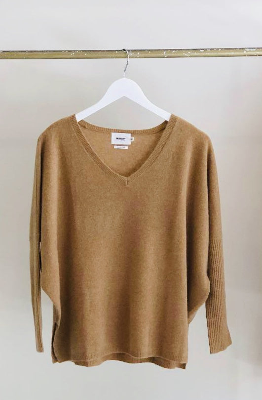 Not Shy Faustine Oversized V Neck Poncho in Caramel
