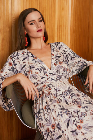 Caballero Chloe Maxi Dress In Cupro Flower