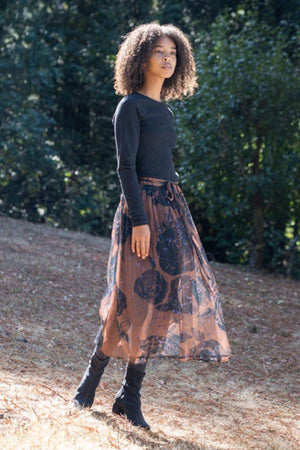 Nanette Wrap Skirt Black Rose Chiffon 100% Silk