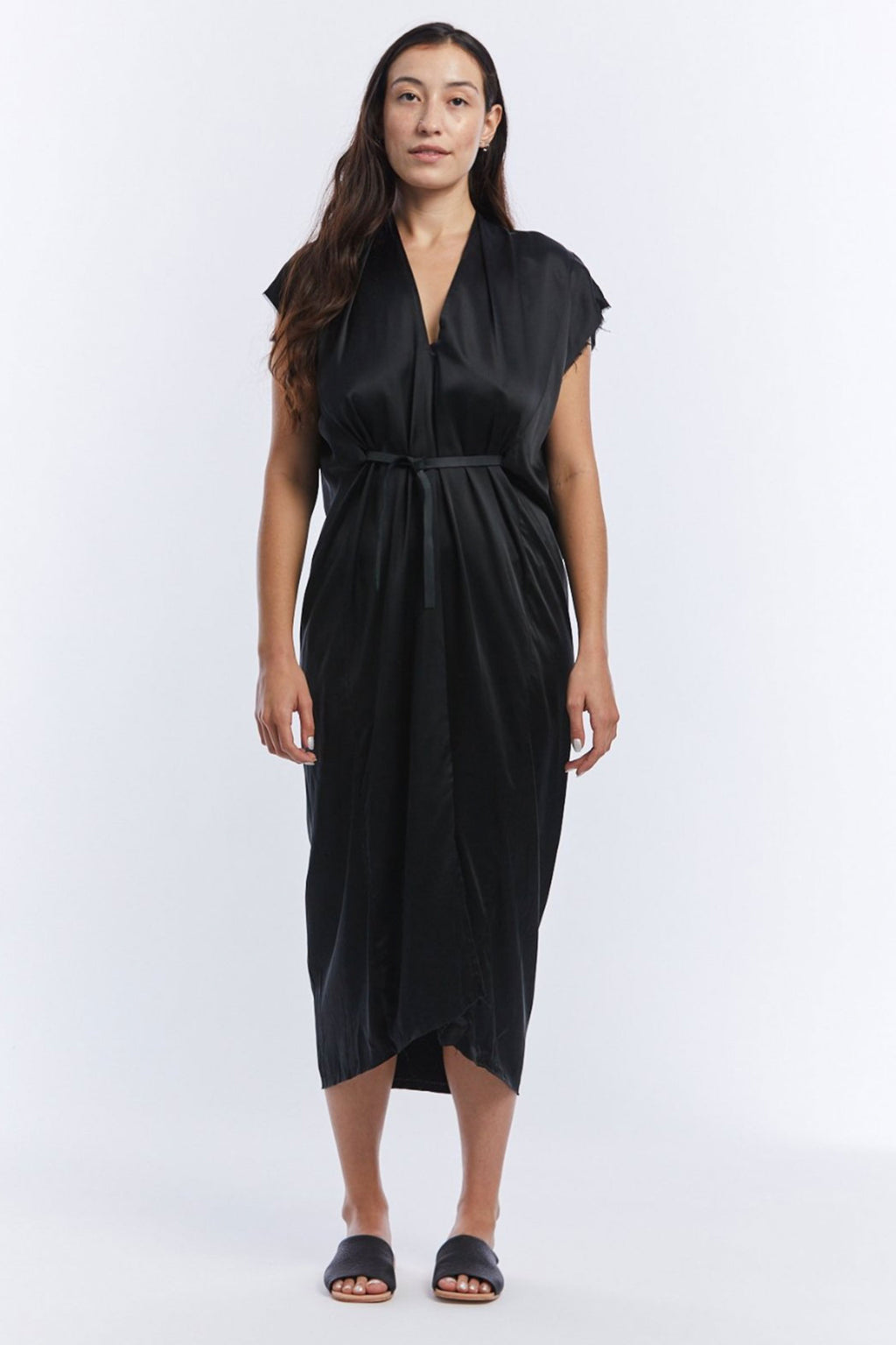 Miranda Bennett Knot Dress in Black Silk Charmeuse