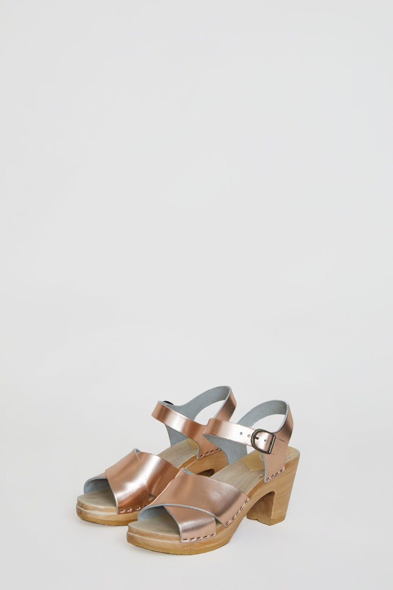 No. 6 Coco Cross Front Sandal on High Heel in Rose Gold