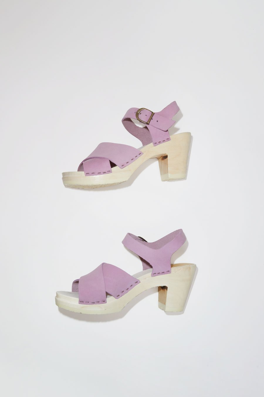No. 6 Coco Cross Front Sandal on High Heel in Violet