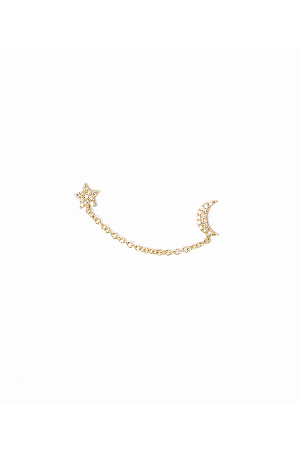 Pade Vavra 14K Yellow Gold Diamond Star and Moon Stud Chain