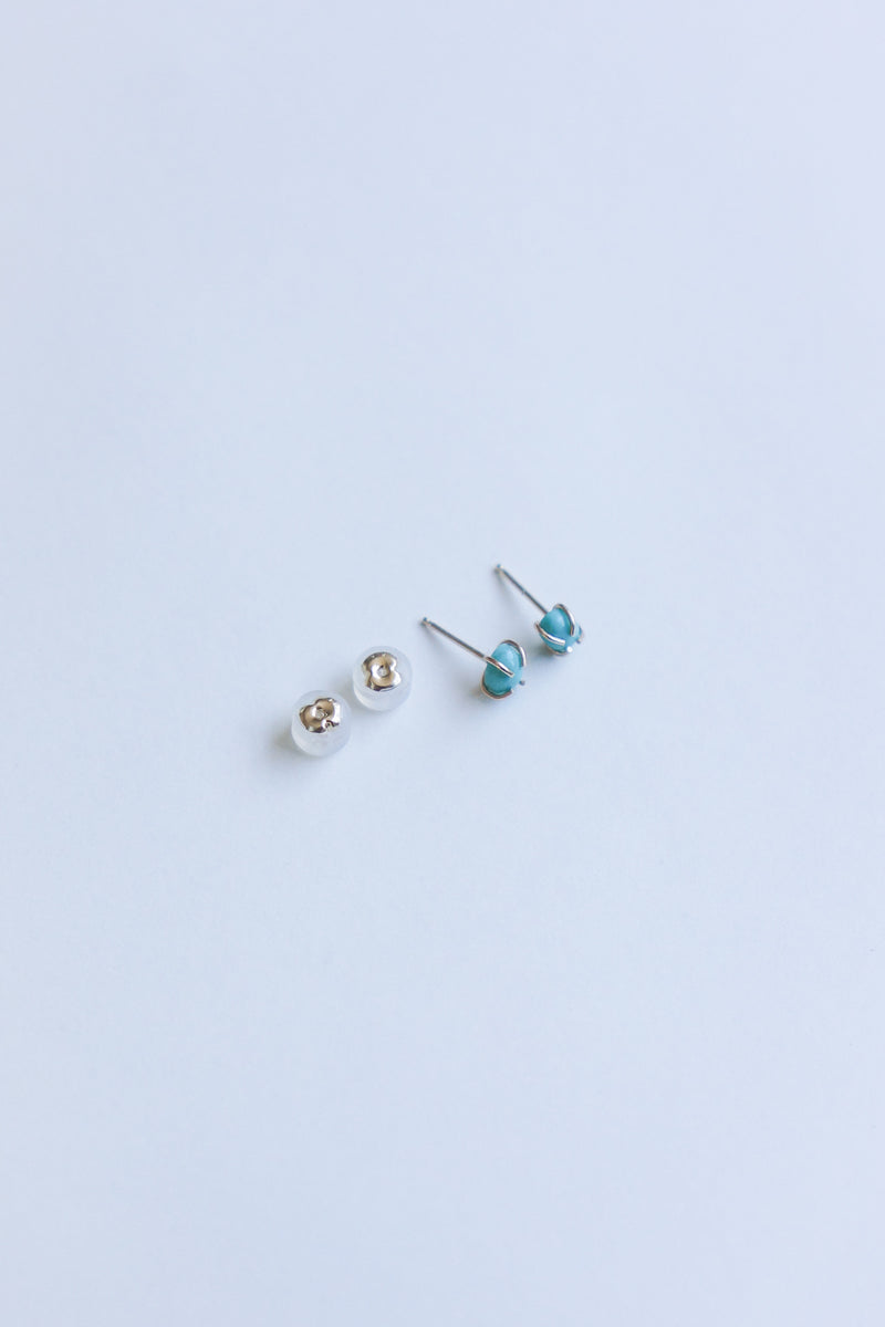 Melissa Joy Manning 14K Gold Natural Arizona Turquoise Stud Earrings