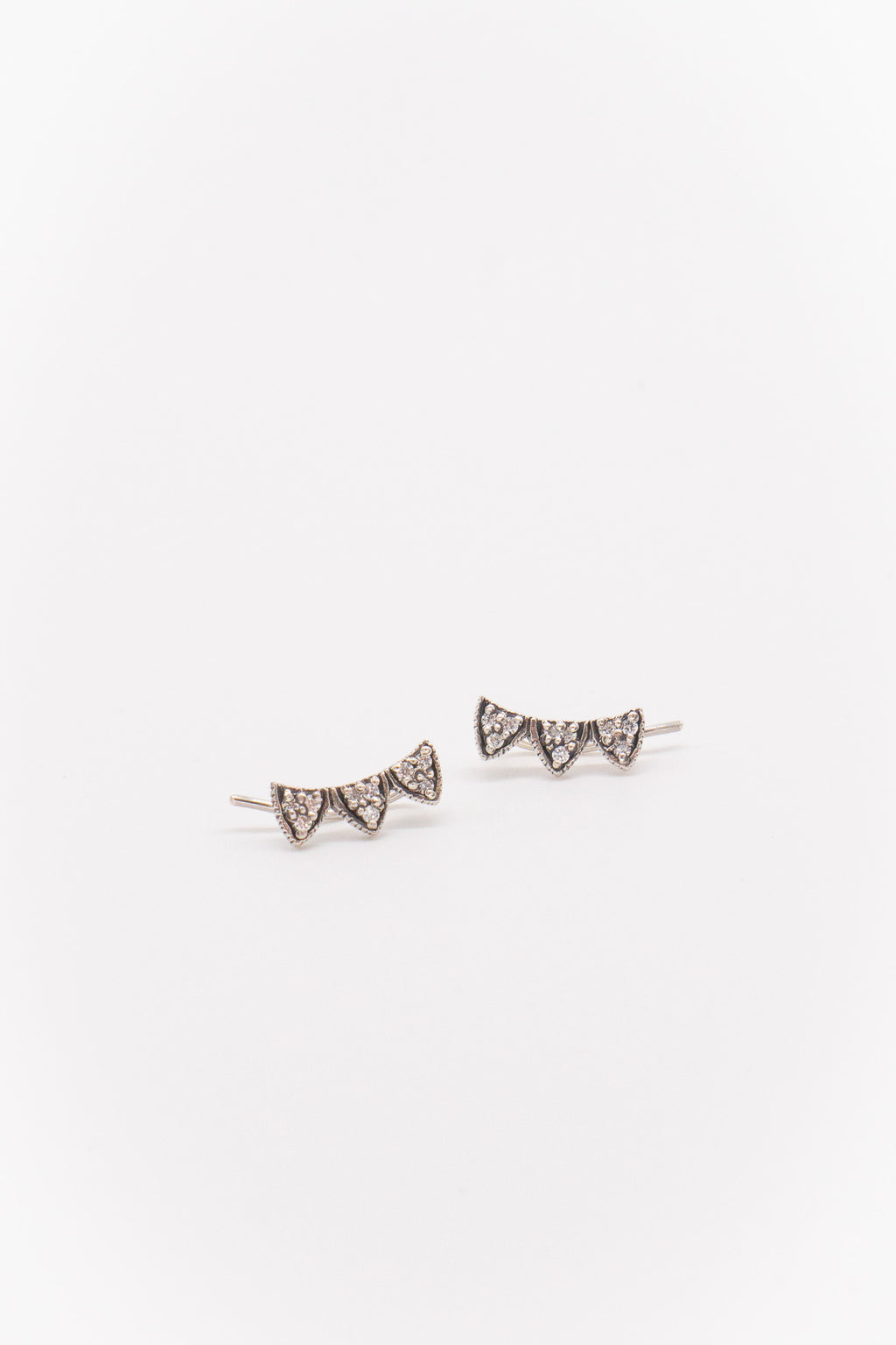 Marie Laure Chamorel Trio Triangle Earring Climbers in Antique Silver